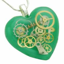 Lo Steampunk Cuore Collana Grande Ciondolo Sterling Silver Green ingranaggi in resina HAND MADE