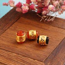 1PCS Pure 999 24K Yellow Gold 3D 六字真言 Red Carnelian Bead Pendant