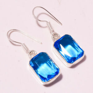 """London Blue Topaz Faceted Gift Purpose Fashion Jewelry Earring S-1.50"""" MXE-1472"""