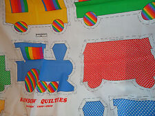 RAINBOW CHOO-CHOO QUILTIES TRAIN  FABRIC  PANEL  STUFFED WALL DECOR NURSERY