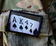 AK47  Playing Cards  Morale Patch Tactical Military Army Badge Hook Flag