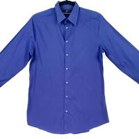 Calibre Men's Small Blue Tailored Collared Long Sleeve Button Business Shirt