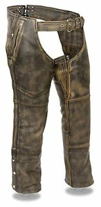 Men's Rub-Off Brown Leather Four Pocket Biker Chaps w/ Removable Thermal Liner