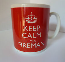 KEEP CALM I'M A FIREMAN MUG IN CARRY ON STYLE GIFT MUG PRESENT CHRISTMAS