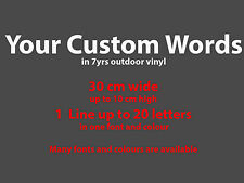 30cm Custom Sticker Vinyl Decal Car Shop Sign in Your Text Font & Colour