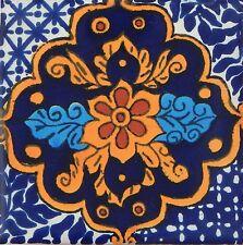 "Handmade Mexican Tile Sample  Talavera Clay 4"" x 4"" Tile C217"