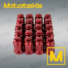 Set of 20 Red M12x1.5 Lug Nuts with Key Socket for Honda Toyota Mazda Tapered