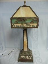 BEAUTIFUL PRE-OWNED CAMELS & PYRAMIDS SLAG GLASS LAMP w/MATCHING BASE