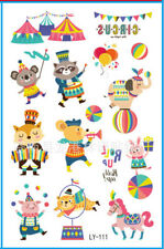 2 Sheet Animal Circus Temporary Tattoos 95x145mm Kids Gift Party Loot Bags Favor