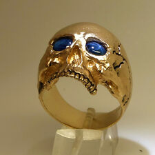 14K Yellow Gold Skull Ring 30 gr. Sapphire Memento Mori Biker Harley by UNIQABLE