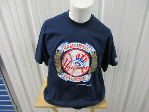 VINTAGE FRUIT OF THE LOOM NEW YORK YANKEES 4TH ANNUAL FAN FEST XL SHIRT NWOT '94