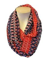 Neon Soul Womens Sheer Infinity Scarf Red Blue Tribal Boho Print One Size