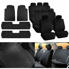 3Row 8Seats SUV Black Seat Covers w/ Black Floor Mats For SUV Van 3 Row Vehicle