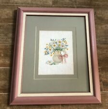 Daisy finished cross stitch needlework framed picture flowers in pot pink green