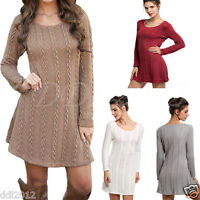 Womens Long Sleeve Jumper Tops Knitted Sweater Ladies Bodycon Tunic Mini Dress
