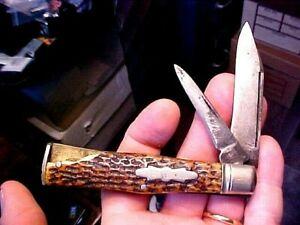 "c1930s JOHN PRIMBLE INDIA STEEL WORKS Doctor Pocket Knife Stag Grips 2 Blades 4"""
