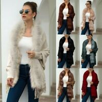 Fashion Womens Winter Warm Coat Knitted Cashmere Capes Shawl Cardigans SweaterCA