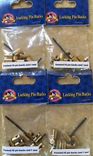 Disney lot of 4 pack of brass locking trading pin backs with key 40 pieces