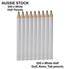 200 x Bulk White Half Pencils - Golf Scorecard Pencils Wholesale Mini Keno Penci