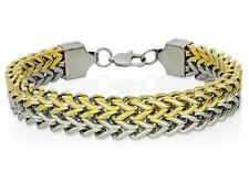 Mens Franco Link Two Tone Stainless Steel 12mm Wide Bracelet