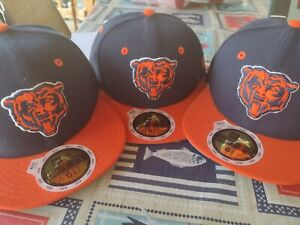 NWT NEW ERA 59FIFTY KIDS CHICAGO BEARS NAVY BLUE ORANGE FITTED HAT SIZE 6 5/8
