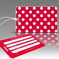 TagCrazy Polka Dot Luggage Tags, Red & White, Durable Plastic Loops-1 Pack