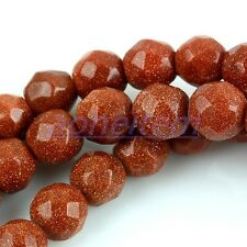 """Ss65 Faceted Gold Sand Stone GEM Gemstone 6mm Loose Beads Jewelry Findings 15""""L"""