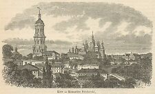 C8264 Ukraine - Kiev - Pechersky Monastery - Stampa antica - 1892 Engraving