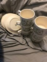 Hornsea Fleur - Set of X6 Cups and saucers - Tea set - Vintage design - Crazing