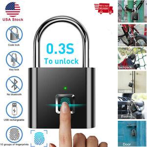 Smart Bluetooth Fingerprint Lock Anti-Theft Keyless Security Padlock w/USB-Cable