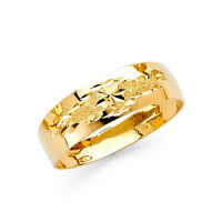 14k Solid Yellow Gold 6mm Tapered Men's Wedding Band Ring - all sizes