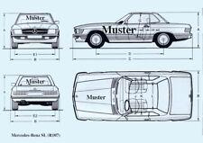 Blueprint Mercedes SL R107 Qualitätsdruck 300gr. matt Maße 29,8 X 21,4cm