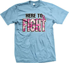 Here To Fight Breast Cancer Camouflage Cure Pink Ribbon Awareness Men's T-Shirt