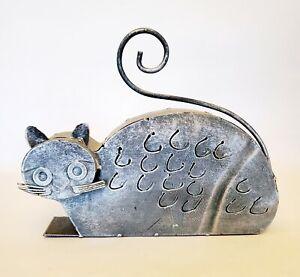 "Metal Figural Grey Cat Lantern Candle Holder Cut Outs Welded Art Folk 10"" x 8"""