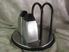 Metalla Prodyne Stainless Steel Salt Pepper Shakers Napkin Holder Set