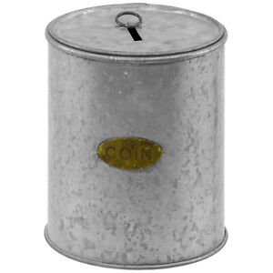 Round Small Galvanized Metal Money Bank Coin Can Planter Organizer with Lid