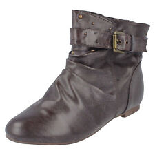 GIRLS KIDS BROWN FLAT PULL-ON SLOUCH COWBOY ANKLE BOOT CHILDRENS SHOES SIZE 13-6