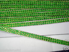 2strip GREEN iron-on hotfix rope reel diamante crystal