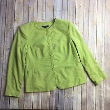 Lafayette 148 New York Blazer Jacket Tweed Green Size 16 Wool Silk Blend Career