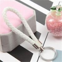Braided Leather Strap Car Loop Key Fob Chain Ring Keychain Keyring  Key Chain W