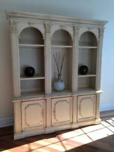 GRAND BOOKCASE & HUTCH WITH BASE CABINET STORAGE BY HOOKER FURNITURE