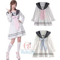 Women Girls Lolita Bowknot Chiffon Dress White Long Sleeve Casual Sailor Dresses