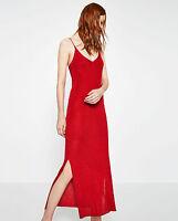ZARA PREMIUM Italian Yarn Knit Red Double Strap Shimmer Long Slip Dress S M BNWT