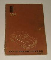 Betriebsanleitung / Handbuch Fiat 1400 von 1953 - deutsch!