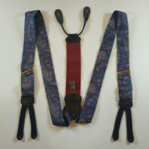 Stylish Trafalgar Purple Paisley Floral Designer Suspenders