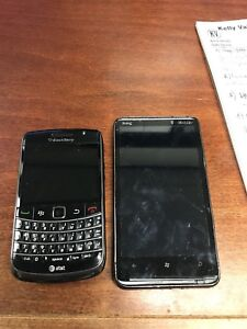 Lot of HTC HD7  - Black (T-Mobile) & ATT Blackberry bold Smartphones - For Parts