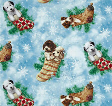 REST Holiday Dogs Hunde Patchwork Stoff Patchworkstoff Weihnachtsstoff Tiermotiv