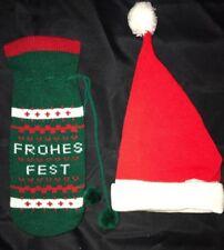 ec8cfc20692 boys girls VINTAGE KNIT SANTA HAT one size GREEN BOTTLE GIFT BAG FROHES FEST