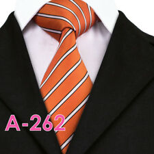 Hi-Tie Orange White Stripe Men's Neck Tie Necktie US Seller New Free Shipping