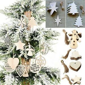 10pcs Christmas Wooden Hanging Plaque ChristmasTree Decoration Hanging Ornament